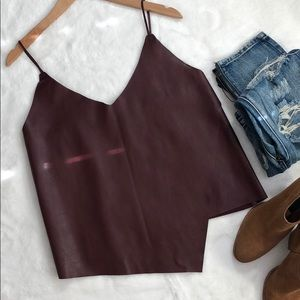 Sexy burgundy vegan leather asymmetric top😍
